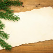 Wooden background: Blank Old Paper Sheet with Christmas tree — Stock Photo