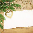 Christmas background: Blank Old Paper Sheet with decorations — Stock Photo #33585109