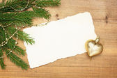 Christmas background: Blank Old Paper Sheet with decorations — Stock Photo