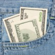 Dollars in the jeans pocket  — 图库照片