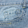 Close up blue jeans pocket  — Stock Photo