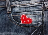 Heart in jeans pocket — Stock Photo