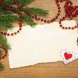 Blank Old Paper Sheet with Christmas tree and decorations on wooden background — Stock Photo