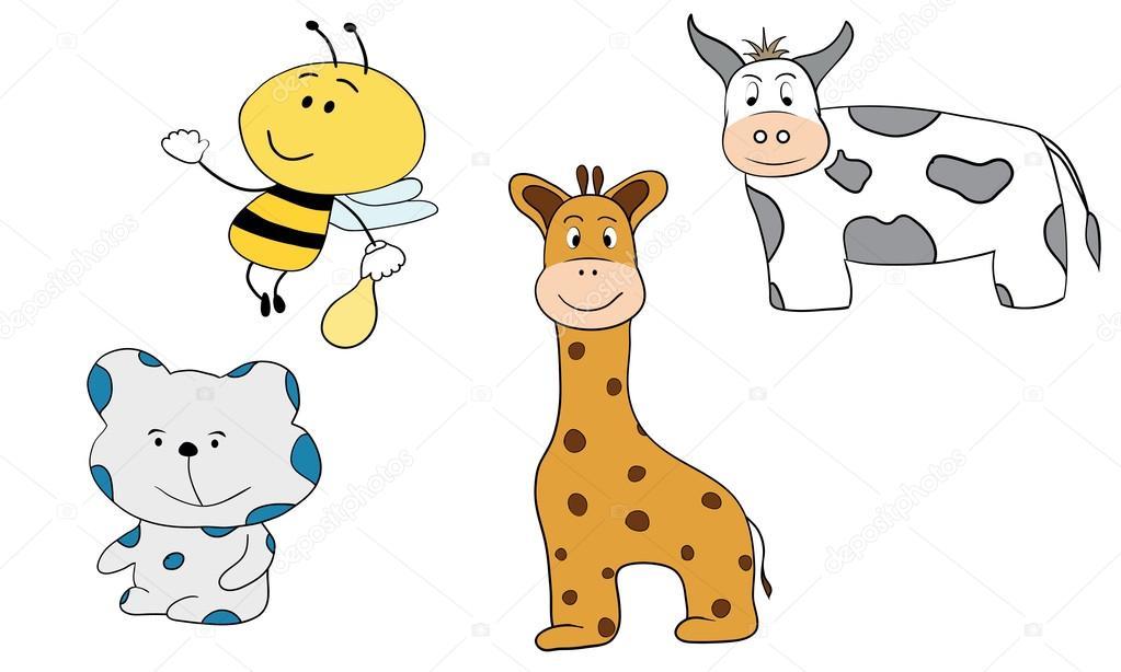 Animales De Dibujos Animados Jirafa Oso Abeja Y Vaca