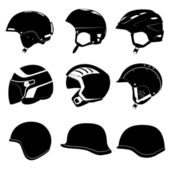 Set of abstract design of helmet, casque, headpiece and cap for — Stock Vector