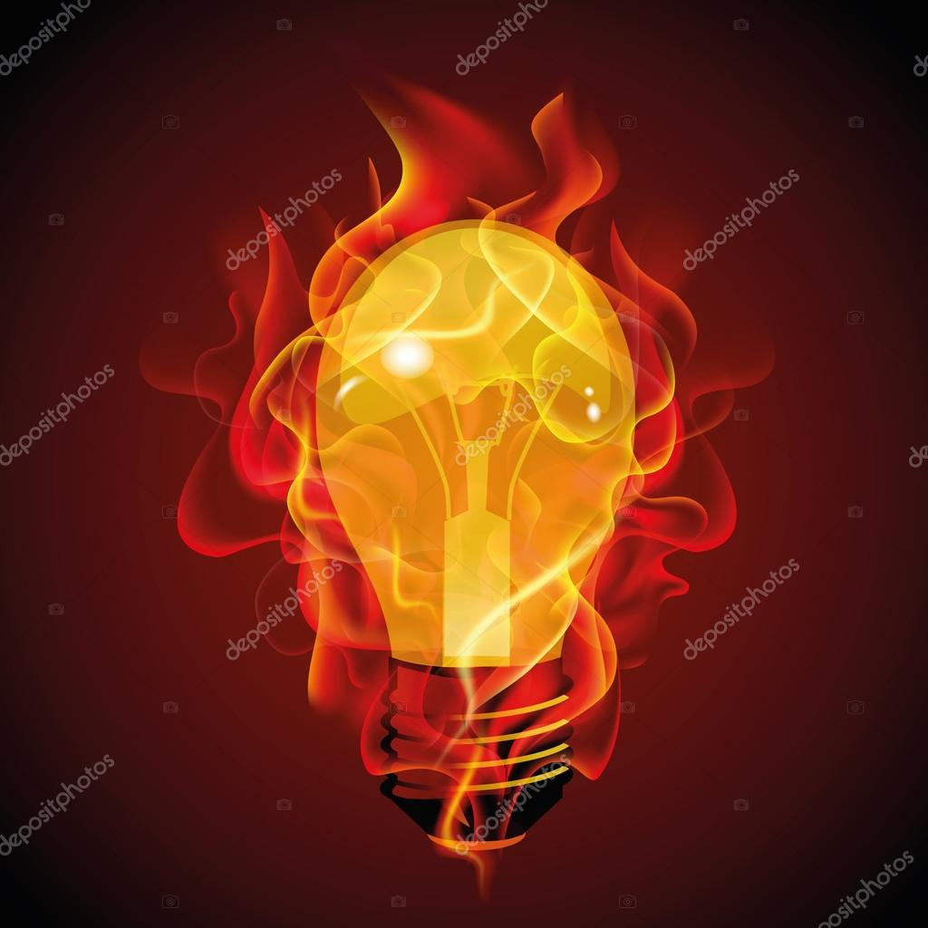 Fire Light Bulb: Abstract design of burning light bulb for texture and textile sample,  template, print, background for presentation, booklet, marketing campaign  on dark ...,Lighting