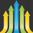 Stockvector : Set of yellow, green and blue arrows as sample, template, print