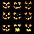 Stock Vector: Set of Halloween pumpkin face impressions for American holiday c
