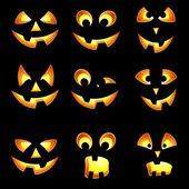 Sada halloween pumpkin obličeje dojmy pro americký svátek c — Stock vektor
