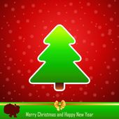 Design of New Year 2014 and Merry Christmas green tree — Stock Vector