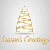Novo ano 2014 e feliz cartão postal de natal com árvore de natal — Vetor de Stock