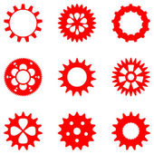 Set of different gears in red color, isolated — Stock Vector