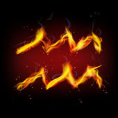 Zodiac sign for Aquarius in fire flames — Vector de stock