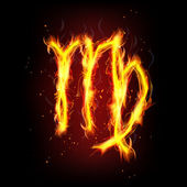 Zodiac sign for Virgo in fire flames — 图库矢量图片
