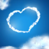 Heart made of white clouds in the blue sky — Stock Vector
