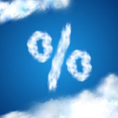 Percentage, sales sign made of white clouds in the blue sky — Stock Vector