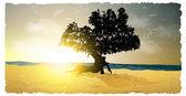 Silueta del atardecer, amanecer y árbol — Vector de stock