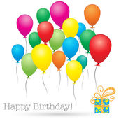 Happy birthday card with colorful baloons and present, isolated — Vector de stock