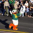 PASADENA, CALIFORNIA - JANUARY 2: The mascot of the University of Oregon, the Marching Duck, is pictured as he greets the spectators during the 123rd edition of the Rose Parade held January 2, 2012. - Stock Photo