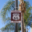 Historic U.S. Route 66 sign in Pasadena, California as photographed in January of 2012. — Stock Photo