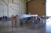 McGUIRE AIR FORE BASE-WRIGHTSTOWN, NEW JERSEY-MAY 12: A mock-up of a General Atomics MQ-1B Predator Unmanned Aerial Vehicle (Drone) is pictured being set up for the base's Open House held in May 2012 — Stock Photo