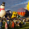 ALBUQUERQUE, NEW MEXICO, USA - OCTOBER 06: The Happy Sunshine balloon is pictured at the 40th edition of the Albuquerque International Balloon Fiesta held in October 2011. — Stock Photo