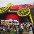 ALBUQUERQUE, NEW MEXICO, USA - OCTOBER 06: The Wells Fargo Stage Coach hot air balloon takes shape during the 40th edition of the Albuquerque International Balloon Fiesta held in October 2011. — Stock Photo