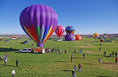 ALBUQUERQUE, NEW MEXICO, USA - OCTOBER 08: Balloons prepare to launch at the 40th edition of the Albuquerque International Balloon Fiesta held in October 2011. — Stock Photo