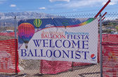 ALBUQUERQUE, NEW MEXICO, USA - OCTOBER 08: A Welcome Balloonist sign was seen at the 40th edition of the Albuquerque International Balloon Fiesta held in October 2011. — Stock Photo