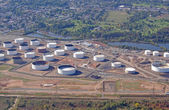 LINDEN, NEW JERSEY, USA - OCTOBER 09: The oil storage tanks of the Phillips 66 oil refinery are pictured in this aerial photograph taken on October 09, 2011. — Stock Photo