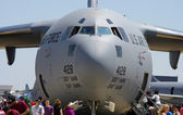 McGUIRE AIR FORE BASE-WRIGHTSTOWN, NEW JERSEY, USA-MAY 12: A close-up view of the nose of a United States Air Force C-17 Globemaster cargo plane is shown during the Open House held on May 12, 2012. — 图库照片