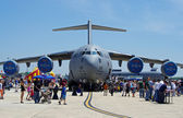 McGUIRE AIR FORE BASE-WRIGHTSTOWN, NEW JERSEY, USA-MAY 12: A United States Air Force BOEING C-17 Globemaster cargo plane is pictured on static display during the base's Open House held on May 12, 2012 — Stock Photo