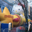 Stock Photo: NEW YORK-NOV 21: On day before 2012 Macy's Thanksgiving Day Parade, all of giant balloons are inflated with helium. Pictured here are Hello Kitty and Macy's Star balloons.