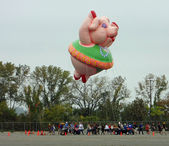 EAST RUTHERFORD, NJ, USA-OCT 5: The 2013 Macy's Thanksgiving Day Parade balloon handlers training session took place this year at MetLife Stadium. Pictured is the Ms. Petula Pig balloon. — Foto de Stock