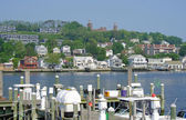 The Navesink River near Sandy Hook, New Jersey, USA is shown in this image from May 2011. — Foto de Stock