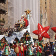 Stock Photo: NEW YORK-NOV 24: holiday tradition since 1924, annual Macy's Thanksgiving Day Parade is seen by more th3.5 million people. Pictured here in 2011 is SantClaus, at end of parade.