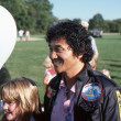 Stock Photo: BRANCHBURG, NEW JERSEY, USA-SEPTEMBER 13: Well known balloonist and adventurer, Rocky Aoki (right), founder of Benihanrestaurants, is pictured at 1986 Somerset County Hot Air Balloon Festival.