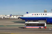 LOS ANGELES-JAN 03: A United Airlines passenger jet is pictured on the ground at Los Angeles International Airport, LAX, in this image from 2012. — Stock Photo