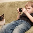 Boy play with mobile — Stock Photo