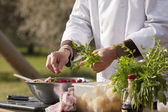 Chef makes beetroot salad — Stock Photo
