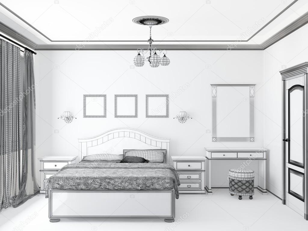 Schizzo 3d di un interno camera da letto foto stock for 5 piani di casa di tronchi di camera da letto