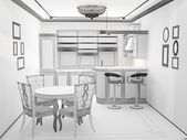 Black and white sketch of kitchen interior — Stock Photo