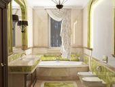 Interior the bathroom in classic style — Stock Photo