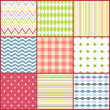 Set of nine colorful seamless patterns - Stock Vector