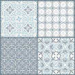 Set of four vintage decorative symmetric seamless patterns — Stock vektor