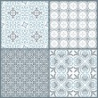 Set of four vintage decorative symmetric seamless patterns - Stock Vector