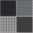 Set of four backgrounds. Abstract, dotted and metal textures — Stock Vector