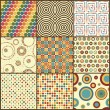 Set of nine retro geometric seamless patterns with circles — Stock Vector