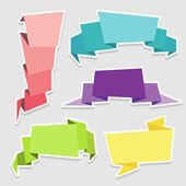Set of colorful origami paper banners — Stock Vector