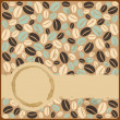 Stock Vector: Grunge retro vintage card with stains and coffee beans on a grun